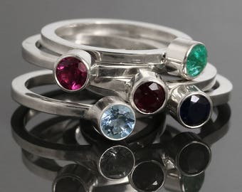 Genuine Gemstone Stacking Ring. Sterling Silver. Natural Birthstone. Tube Bezel Setting. 4mm Faceted Round. Made to Order.