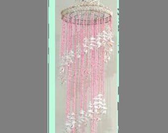 "Vintage Seashell Chandelier Pink White Real Shells Windchime 45"" Mobile"
