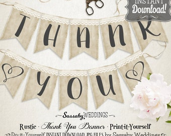 Rustic Thank You Wedding Banner - INSTANT DOWNLOAD - Rustic Country Love Wedding Photo Prop Printable Banner do-it-yourself