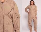 Flight Jumpsuit Military Suit Army Coveralls Zip Up Grunge Pantsuit Aramid Vintage Long Sleeve Romper Khaki Extra Large xl