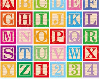 Baby Blocks Alphabet Font Digital Clip Art /  Cute Alphabet and number Clipart (CG048) /Babyshower party / Birthday Party /INSTANT DOWNLOAD