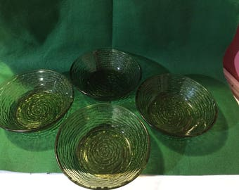 "Anchor Hocking Glass Avocado Green Lido Sorena Pattern Set Of 4 6""W Cereal Bowls"