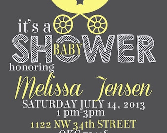 Carriage baby shower invitation-neutral