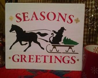 """Hand Painted Wood Christmas """"Seasons Greetings"""""""