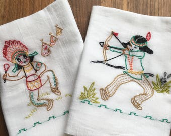 Little Indian Hand Embroidered Dish Towels