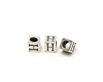 Alphabet Beads Sterling Silver 4mm Alphabet Blocks H - 1pc (3174)/1