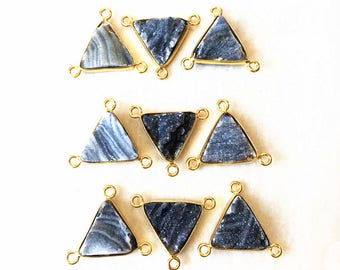 Sparkly Grey Agate Druzy Triangle Pendants Connector Charm with Gold Plated Bails 1, 3, 5, 10 (D8F4_55)