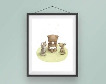 Nursery Art, Nursery Printable,8x10, Art Print, Wall Art, Animal pictorial, Reading time