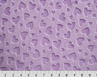 Embossed Heart Cuddle Lilac, Embossed Minky, Shannon Minky Fabric, Shannon Embossed Minky, Minky Fabric, Heart Minky, Minky by Yard