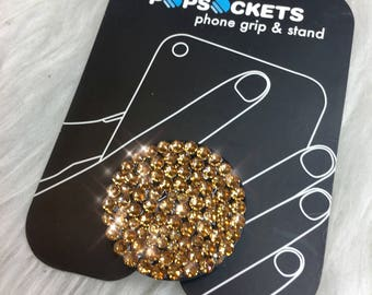 Gold Swarovski Crystal PopSocket Cell Phone Grip Cell Phone Stand Custom Handmade Swarovski Crystal Phone Accessories