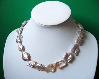 Gorgeous Extra Large Lavender Biwa Freshwater Pearl  Nuggets Necklace