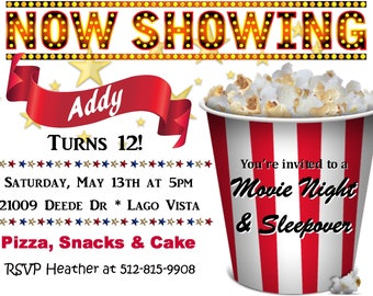 Movie Night/Sleepover/Popcorn Invitation - Downloadable File