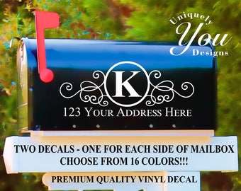 Mailbox Decal #4 - Custom Personalized Vinyl Mailbox Decal  - SET OF 2 - 16 Colors To Choose From!