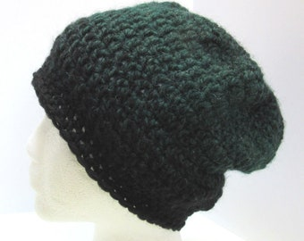 Black Green Wool Slouchy Hat Mans Womans Crochet Knit Cap Large Beanie Oversize Tam Beret Dreadlocks Big Hair BoHo Soft Warm Retro Spring