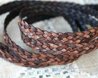 1 Meter 10mm Flat Braided Leather Cord Natural Red Brown 5 Strands