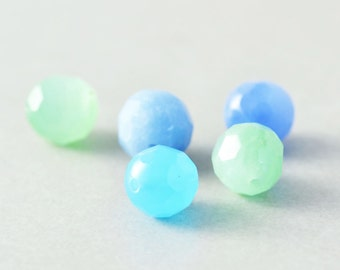 Blue Aqua Green Beads, Waterfall Quartz, Mint, 8mm Faceted Round, Five