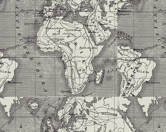 Fabric and leather products for sale in cape town by sewninafrica world map fabric african continent and europe printed on linen gumiabroncs Gallery