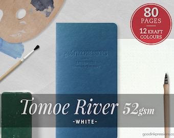 80 Pages- Tomoe River White 52 gsm, Midori Inserts - Bullet journal - Scrapbooking- Fountain Pen- Dots- Plain- A5- B6