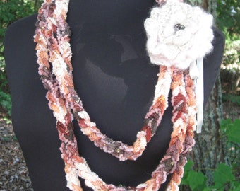 Crochet Scarf Necklace with Sequins and Crochet Flower