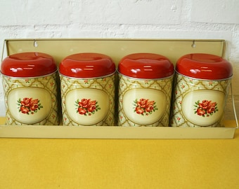 Worcester Ware Cranberry Rose storage canisters and shelf