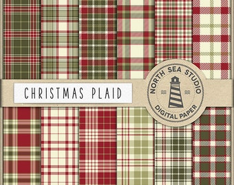 Christmas Plaid Digital Paper Pack | Scrapbook Paper | Printable Backgrounds | 12 JPG, 300dpi Files | BUY5FOR8