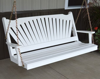 Yellow Pine Fanback 6ft. Outdoor Porch Swing