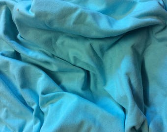 Turquoise cotton/viscose jersey fabric