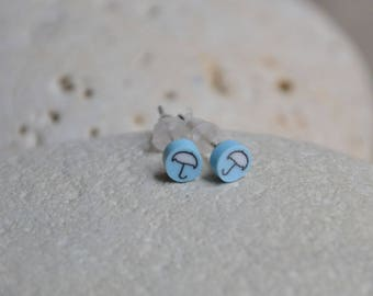 Blue Stud Earrings for girl with umbrella