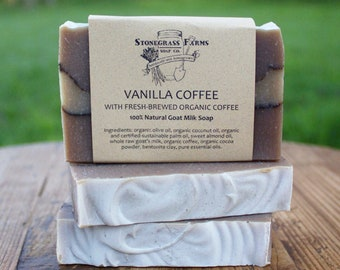 Vanilla Coffee Soap - Goat's Milk Soap - Coffee Lover's Cold Process Soap - All Natural Soap with Organic Ingredients - Essential Oil Soap