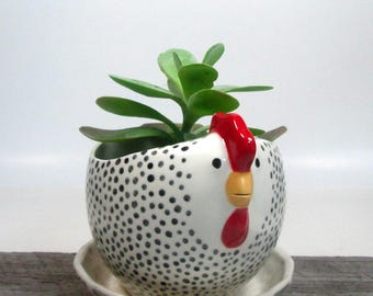Hen planter with overflow saucer Pottery Ceramic Wedding gift Hotess Gift  Ready to ship