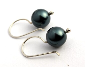 Dark Teal Swarovski Pearl Drop Earrings FREE SHIPPING