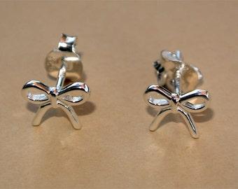 Sterling Silver Earrings, Bow Studs Earrings, Stud Earrings, Tiny Earrings, Handmade