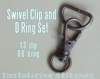 2 quantity of 1.3 Inch / 34 mm Swivel Clips - Add a D Ring or Key Ring or Swivel Clip Alone (in nickel and antique brass finish)