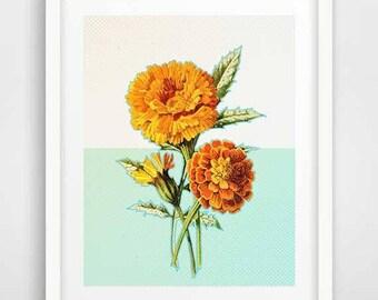 Mid-century modern art, marigold flowers art, yellow flowers, marigold flower print, marigold poster, marigold art print, marigold decor
