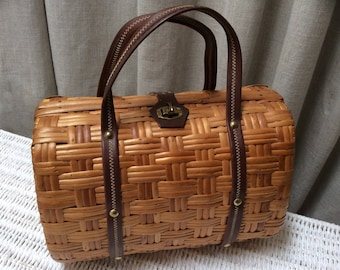 1950's Wonderful Wicker & Wood Barrel Handbag Original Vintage Fifties 50's