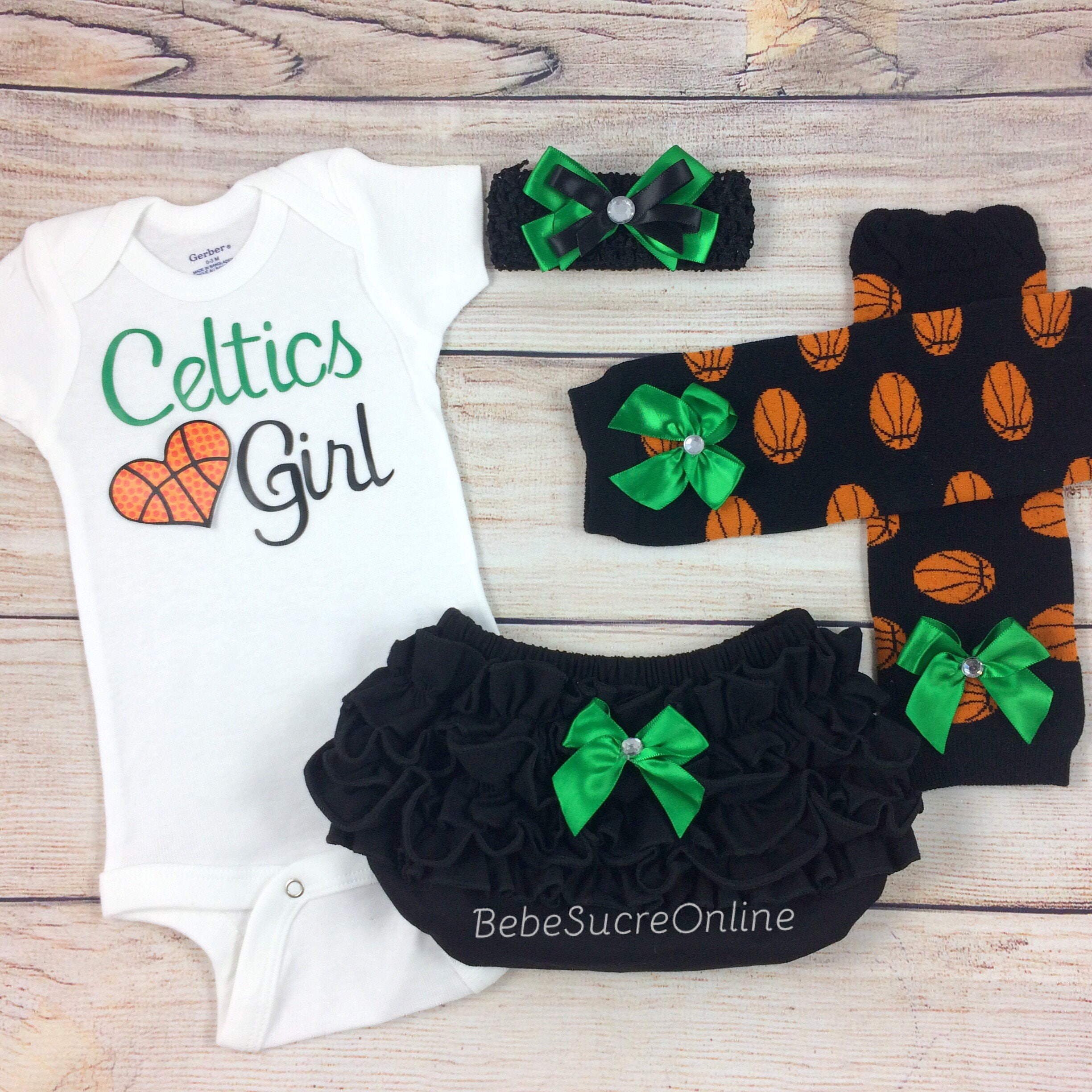 Celtics Girl Baby Basketball Outfit Cheerleader Game Day