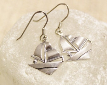 Sterling Silver Sail Boat Earrings, Charm Jewelry, Gifts Under 25