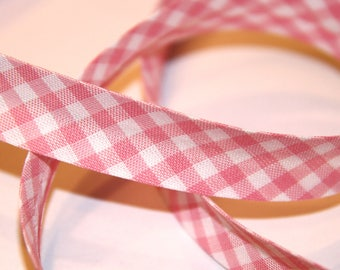 BIAS POLYCOTTON GINGHAM 18MM PINK AND WHITE