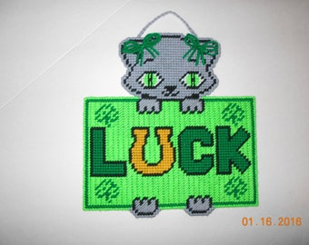 Kitty, Luck, St Patrick's day,  wall hanging, wall hanging, plastic canvas
