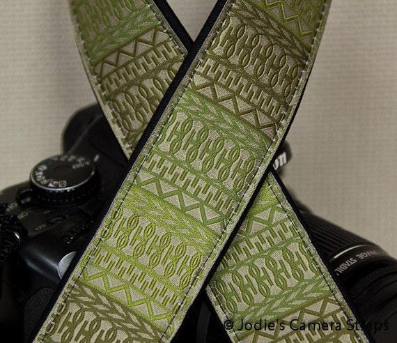 """Camera Strap Lattice in Sage Green in 1.5"""" Wide Custom Padded Fits DSLR SLR 2859"""