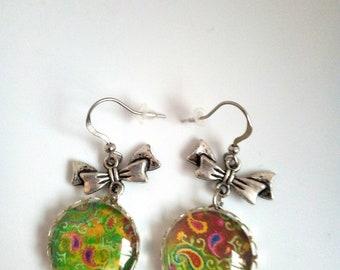 Boucles d'oreilles cabochon 18mm en verre
