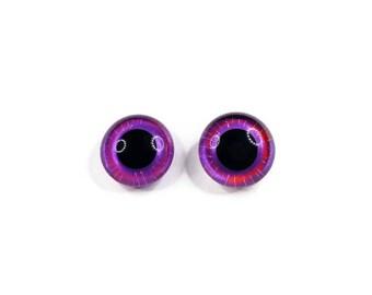 24mm German Glass Eyes,teddy bear,Purple Haze,glass eyes, teddy bear eyes, hand painted glass eyes,24mm,german glass eyes