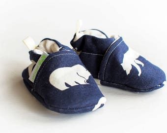 Organic Knits Vegan Bears in Dusk / All Fabric Soft Sole Baby Shoes / Made to Order / Babies