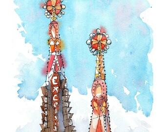 Sagrada Familia Antoni Gaudi / ORIGINAL WATERCOLOR / Eixample, Barcelona / drawing Barcelona REF. W019