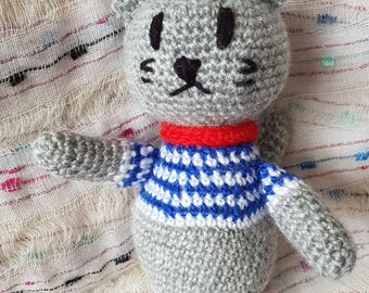 Hand Crocheted, Child Friendly, Soft Toy, Thomas the Cat