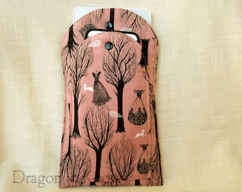 Padded Ereader Case - Small Book Sleeve, pink and black haunted forest, Victorian gothic dresses, Halloween spooky, ghosts and bunnies