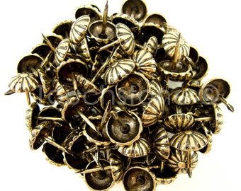 100 Pack Antique Brass Daisy Nail Tacks 1/2""
