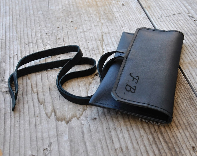 Custom Leather Tobacco Pouch, Roll Up Case