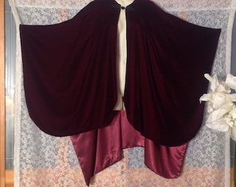 Vintage Cape/Shawl Made in England by Morgan and Oates in Plum Eggplant Color, One Size Fits Most, Dry Cleaned