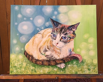 Custom pet painting, cat painting, cat oil painting, abstract cat painting